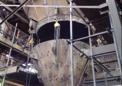 Substituição de silos na área de matérias primas.